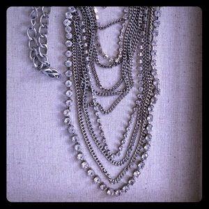 BCBG silver & rhinestone multi layer necklace